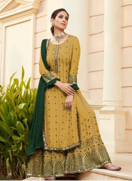 Yellow Color Mirror Work Sharara Suit