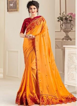 Yellow Color Natural Fabric Saree Online