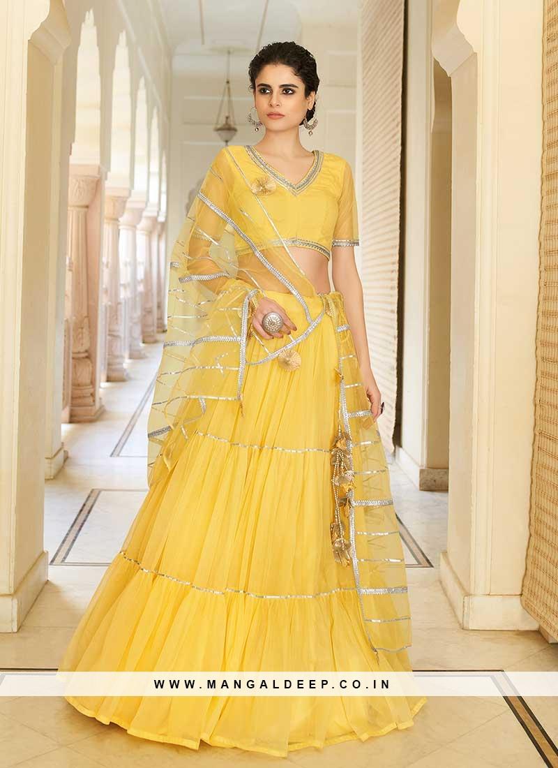 Yellow Color Net Fancy Lehenga