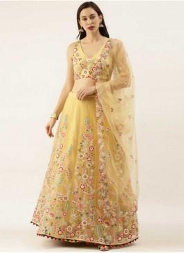 Yellow Color Net Floral Design New Lehenga