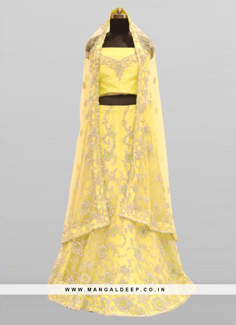 Yellow Color Net Haldi Function Wear Lehenga