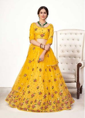 Yellow Color Net Haldi Wear Lehenga