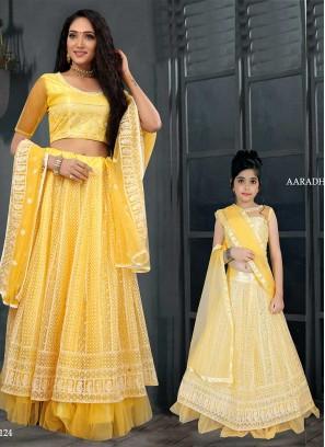 Yellow Color Net Mother Daughter Lehenga
