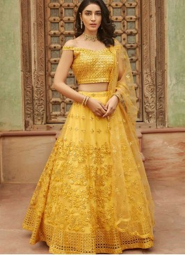 Yellow Color Organza Haldi Wear Lehenga