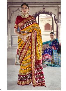 Yellow Color Patola Silk Marriage Sarees