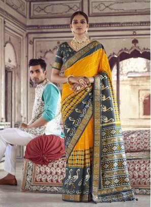 Yellow Color Patola Silk Wedding Saree