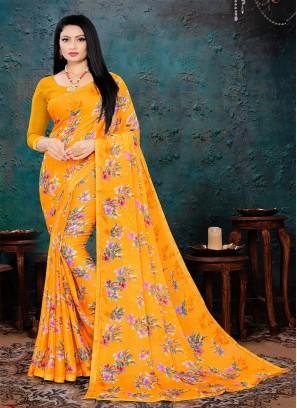 Yellow Color Printed Chiffon Saree