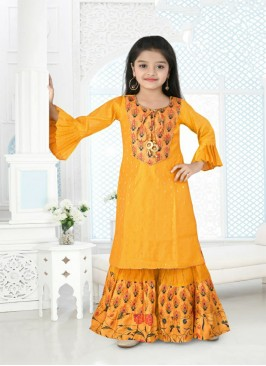 Yellow Color Printed Kids Sharara