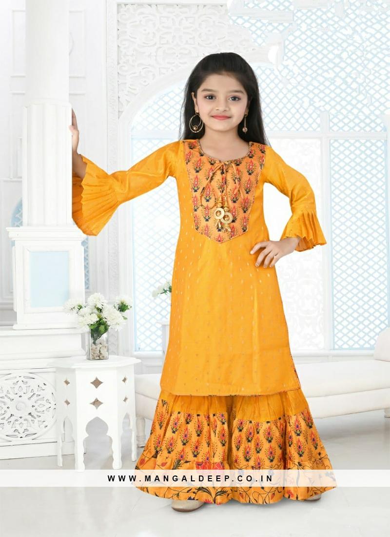 Yellow Color Printed Kids Sharara