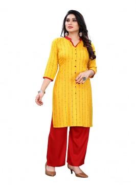 Yellow Color Printed Kurti