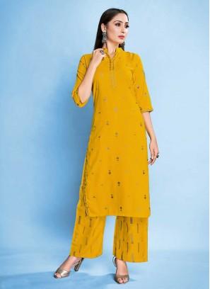 Yellow Color Rayon Kurti Pants