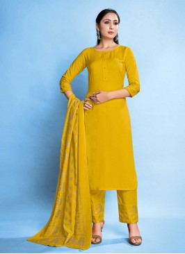 Yellow Color Rayon Latest Salwar Suit