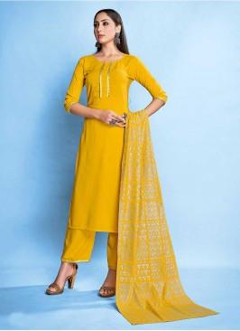 Yellow Color Rayon Readymade Salwar Kameez