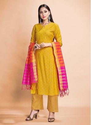 Yellow Color Rayon Readymade Salwar Suit