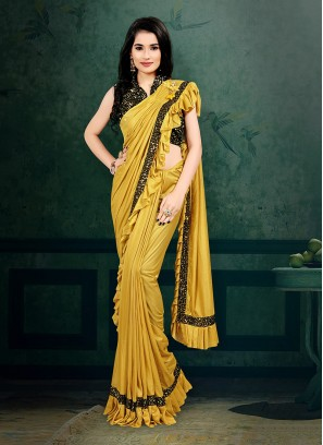 Yellow Color Readymade Saree