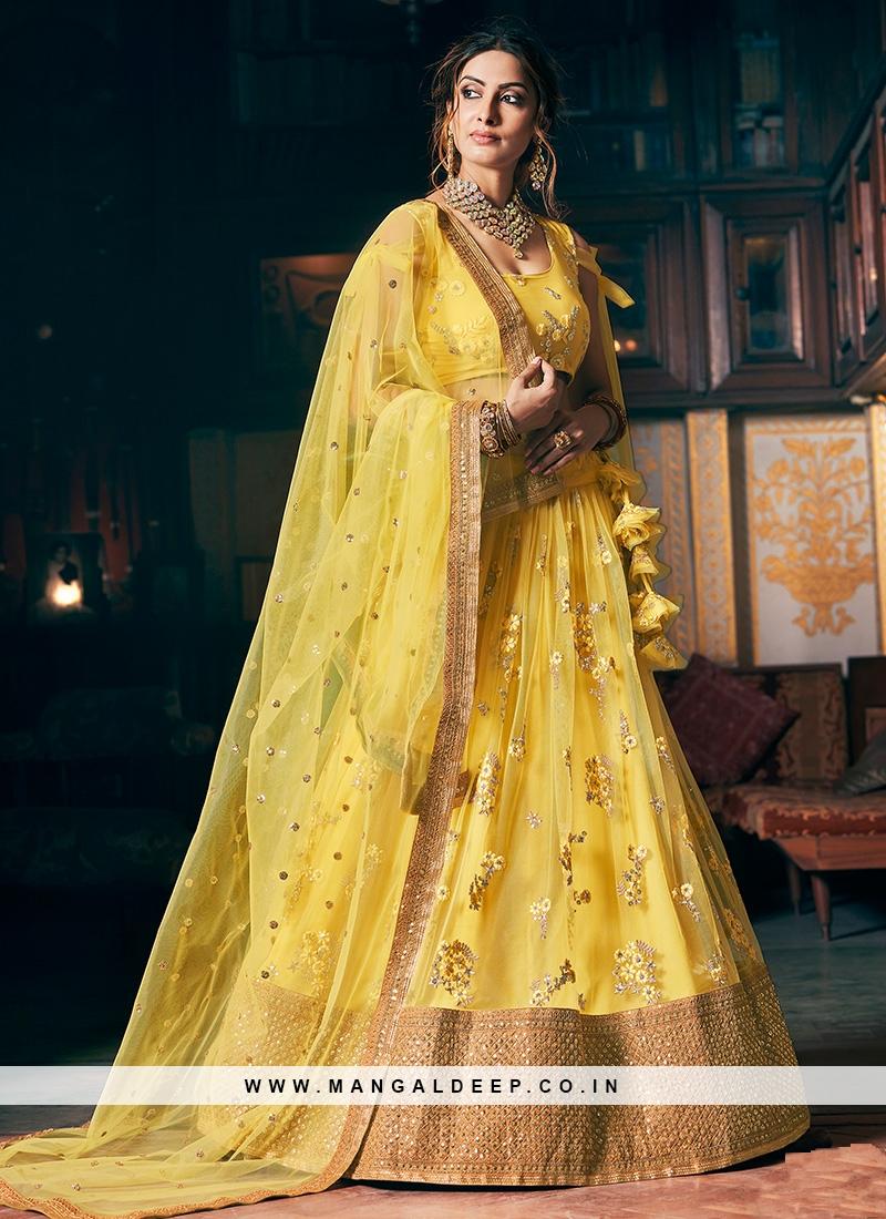 Yellow Color Resham Work Net Lehenga