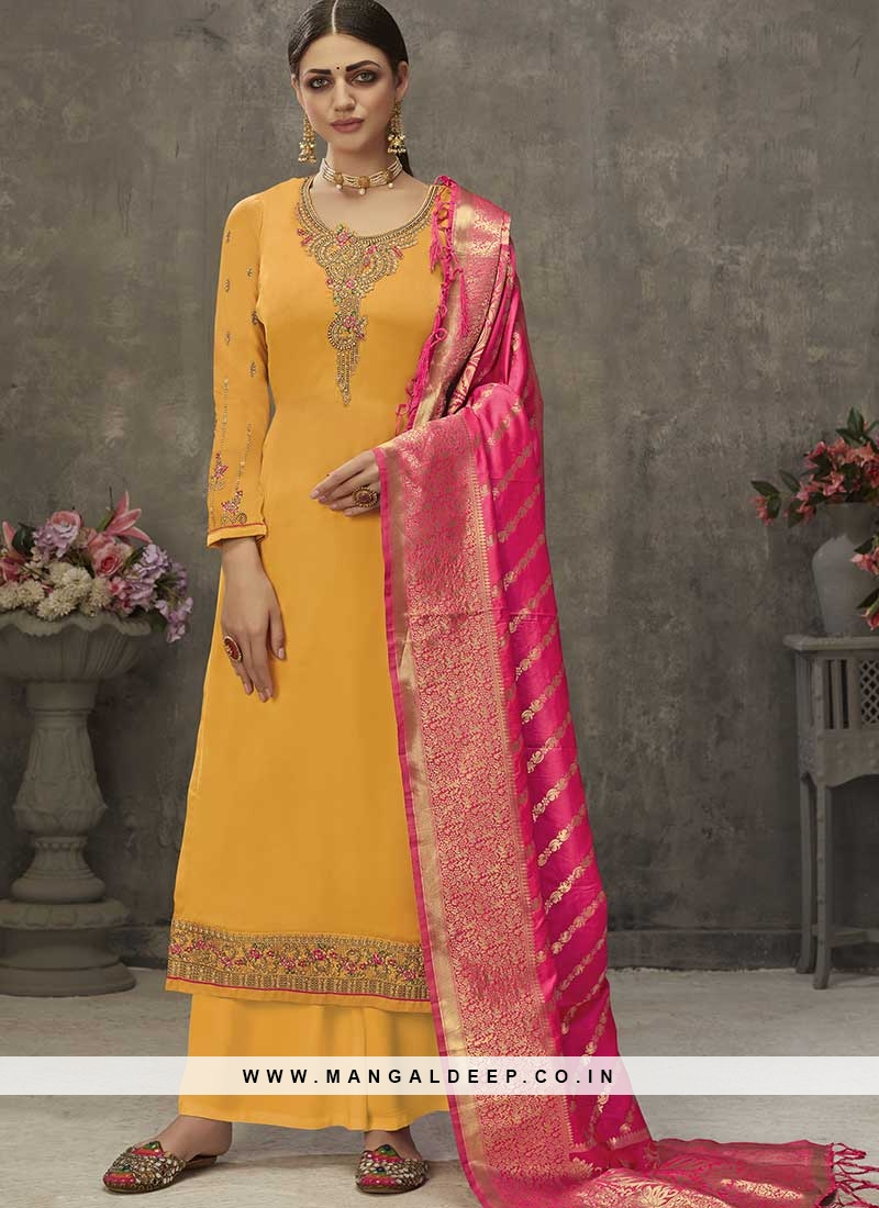 Yellow Color Satin Plazzo Suit