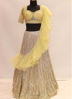 Yellow Color Sequins Work Net Lehenga