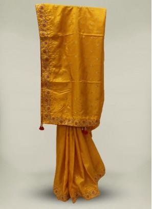 Yellow Color Silk Designer Saree