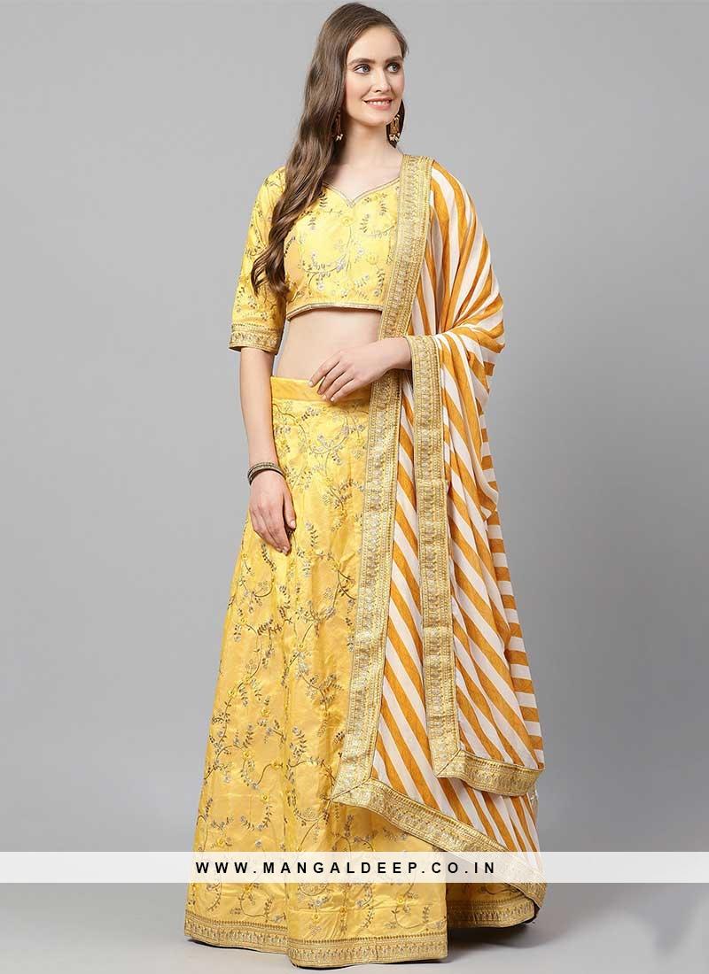 Yellow Color Silk Embroidered Haldi Wear Lehenga