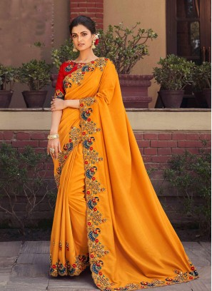 Yellow Color Silk Embroidered Saree