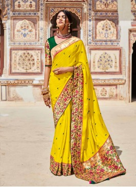 Yellow Color Silk Fancy Saree