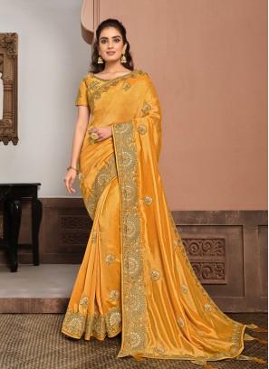 Yellow Color Silk Georgette Stylish Saree