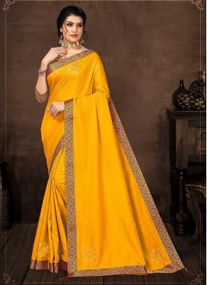 Yellow Color Silk Hot Saree