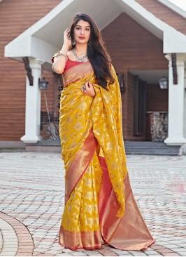 Yellow Color Silk Ladies Saree