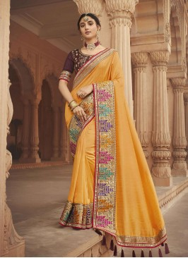 Yellow Color Silk New Fancy Saree