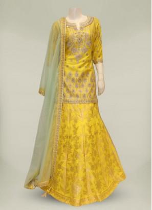 Yellow Color Silk Pakistani Sharara Suit