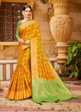 Yellow Color Silk Pithi Wear Saree