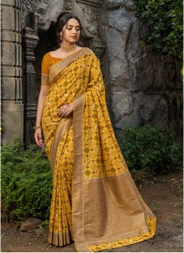 Yellow Color Silk Saree For Girls