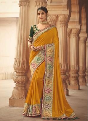 Yellow Color Silk Saree For Wedding Party