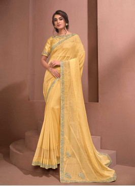 Yellow Color Silk Saree With Readymade Blouse