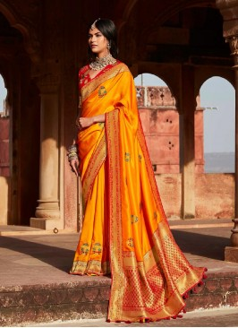 Yellow Color Silk Weaving Saree