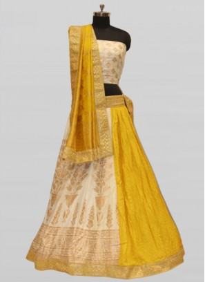 Yellow Color Silk Woven Work Lehenga For Women