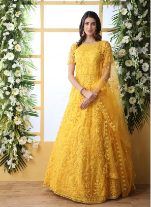 Yellow Color Stone Work Long Gown