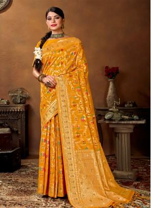 Yellow Color Weaving Banarasi Silk Saree