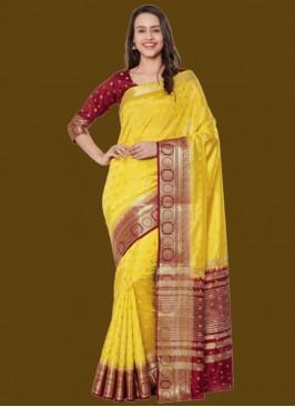 Yellow Color Zari Work Silk Saree For Ladies
