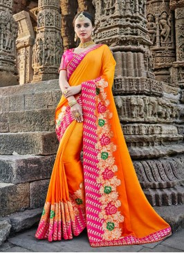 Yellow Embroidered Designer Traditional Saree