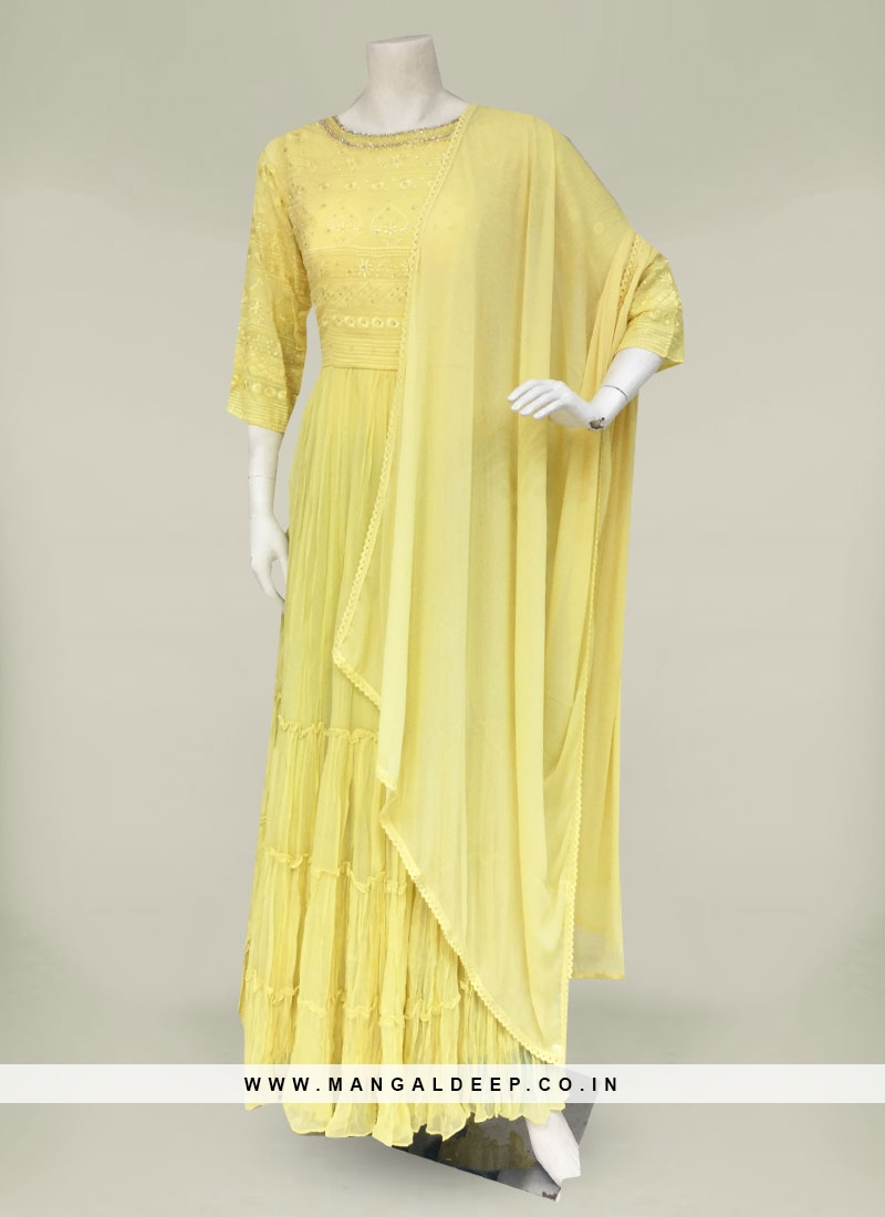 Yellow Georgette Floor Length Anarkali Dress