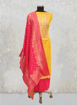 Yellow Silk Hand Work Salwar Kameez