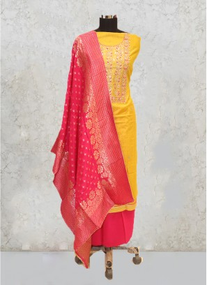 Yellow Silk Hand Work Salwar Kameez