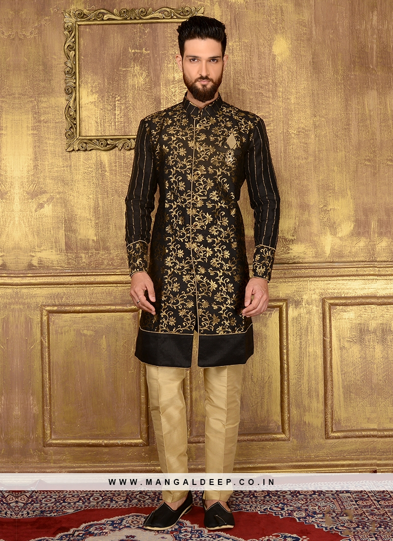 Zari Work Black Indo Western Kurta Suit