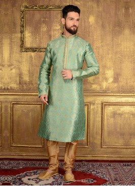 Zari Work Sea Green Kurta Pyjama